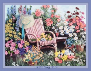Wicker Chair and Flowers Silk Ribbon Embroidery