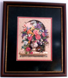 Floral urn, needle point