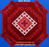 Ruby Rosette, hardanger needlework design