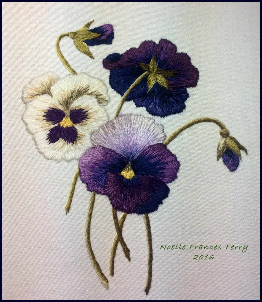 Pansy Trio, needlepainting