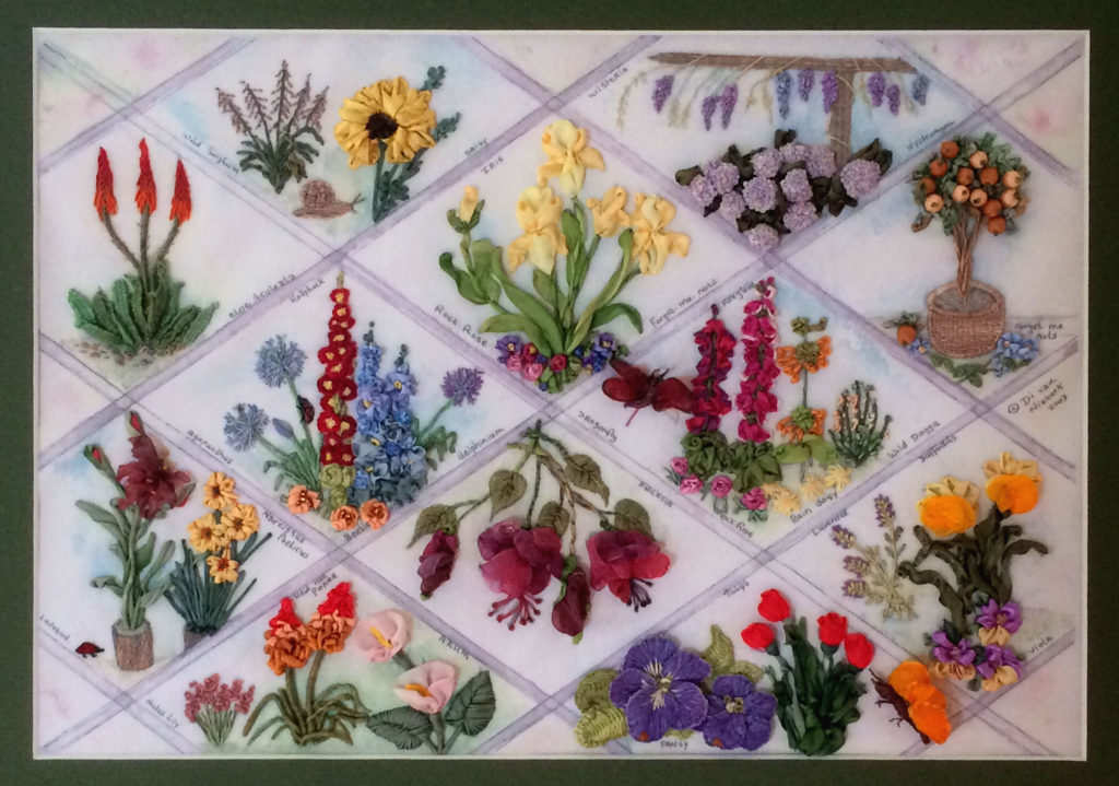 Silk Ribbon Flower Panel
