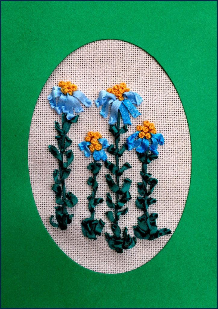 blue speckled whimsical flowers