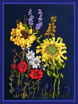 Wild Flowers, silk ribbon