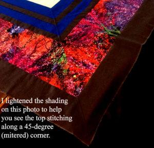 Top stitched corner