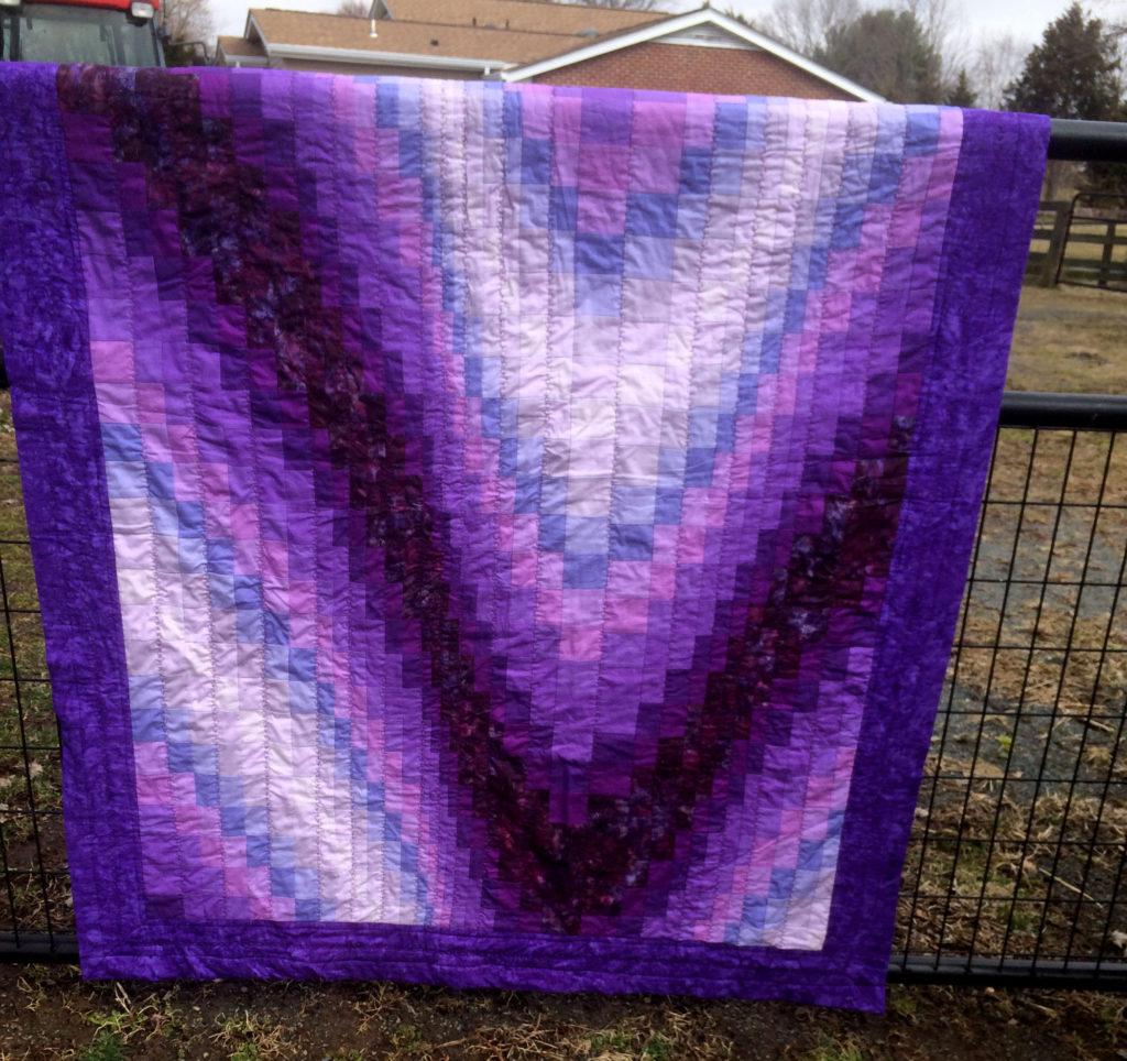 Purple Bargello quilt - front view