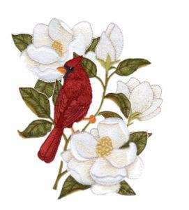 cardinal and magnolias